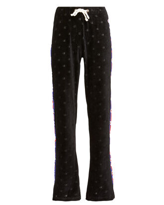 Velour Wide Leg Logo Pants, BLACK, hi-res
