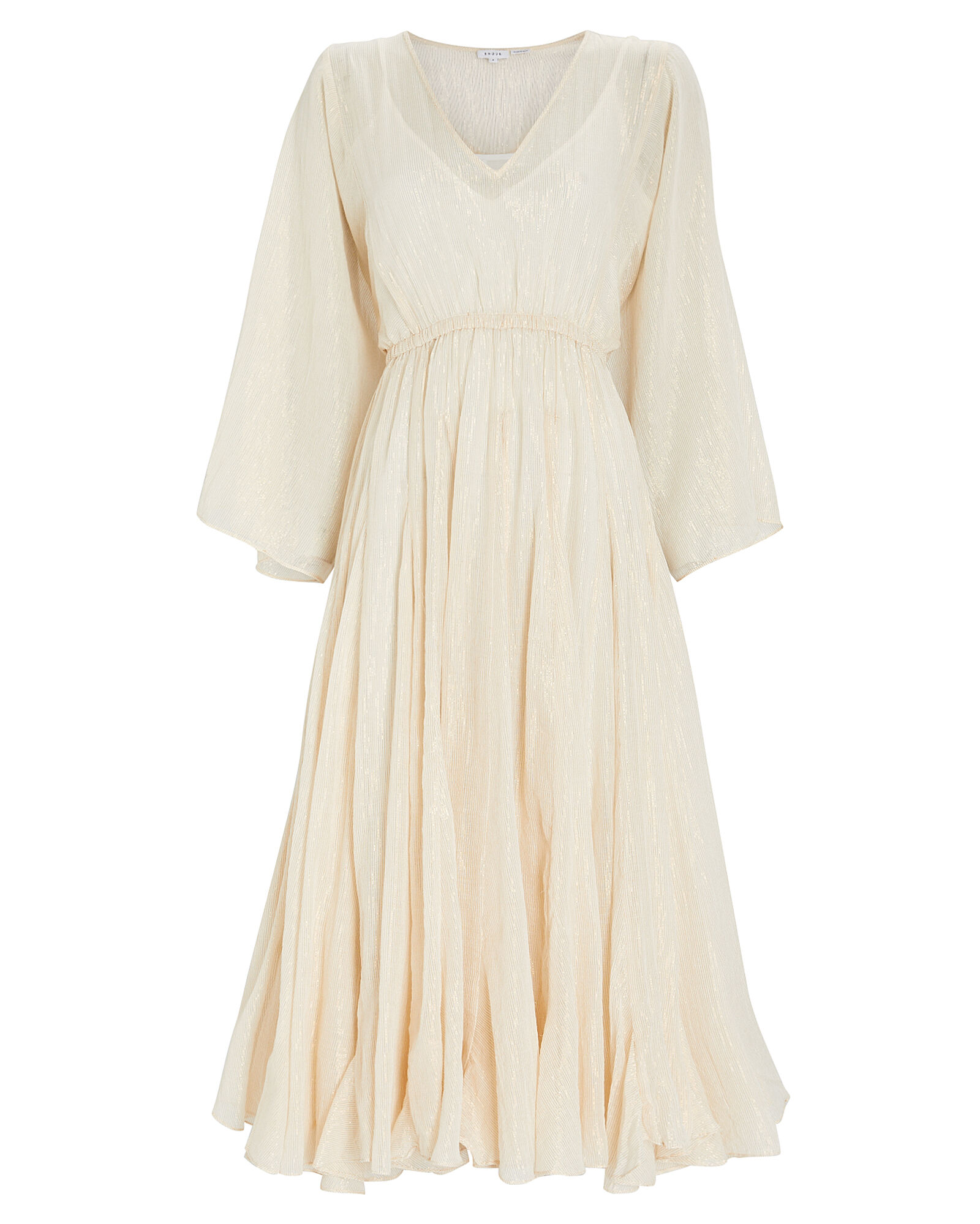 Emily Lurex Striped Cotton Dress, IVORY, hi-res