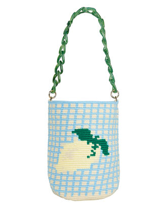 Lemon Chain Grid Bag, BABY BLUE/YELLOW, hi-res
