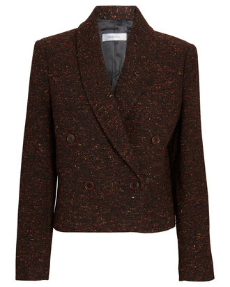 Mae Cropped Double-Breasted Tweed Blazer, BROWN, hi-res