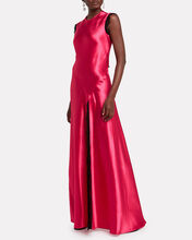 Lace-Trimmed Satin Gown, RASPBERRY, hi-res