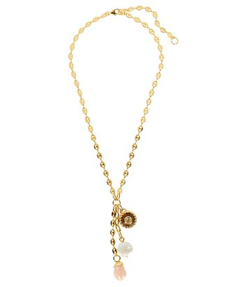Anchor Lariat Charm Necklace, GOLD, hi-res