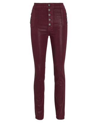 Natasha Coated Sky High Skinny Jeans, PURPLE, hi-res
