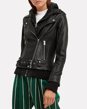 Harper Leopard Combo Leather Jacket, BLACK, hi-res