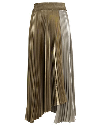 Neville Pleated Lamé Skirt, SILVER/GOLD, hi-res