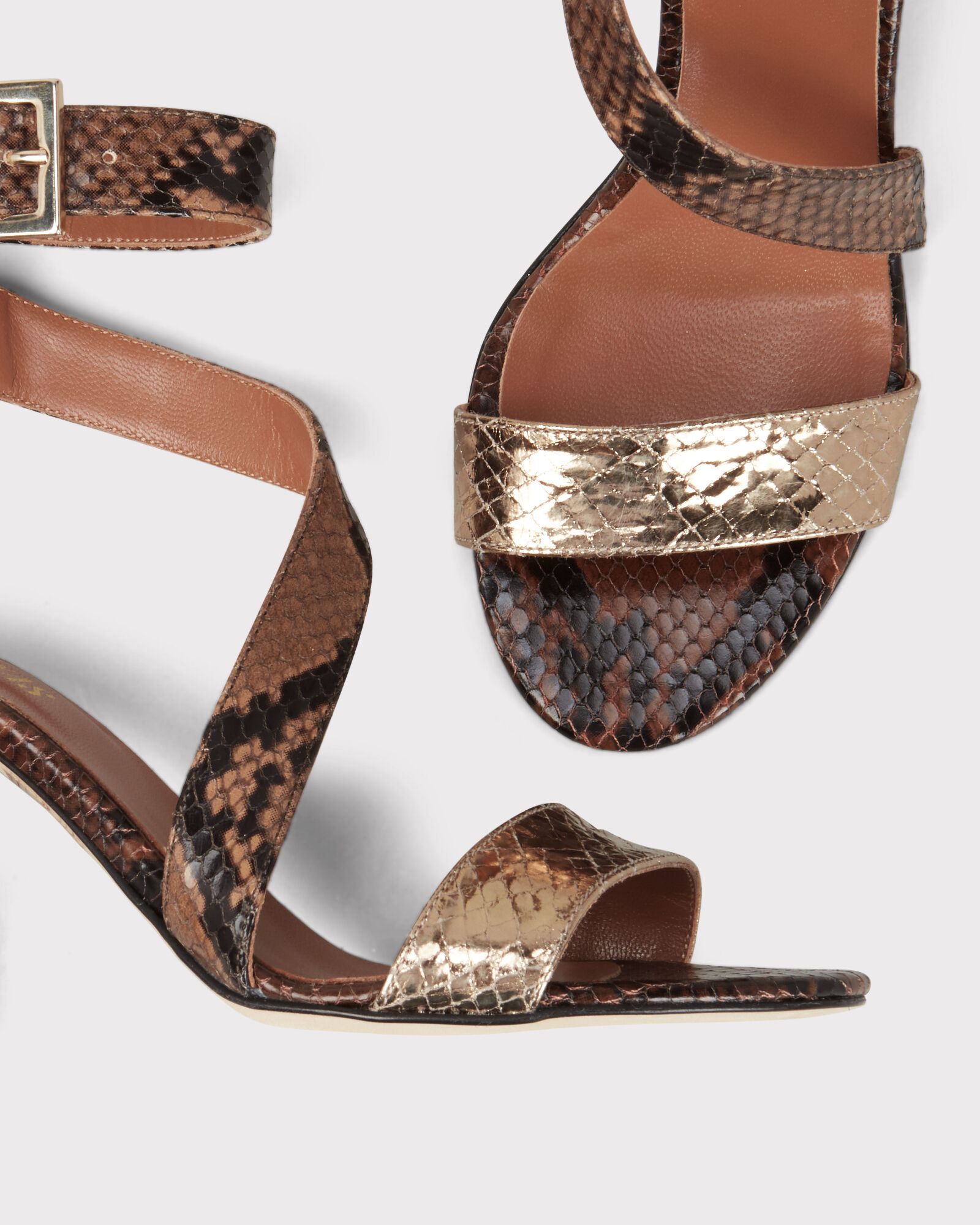 Snakeskin Embossed Sandals, BROWN, hi-res