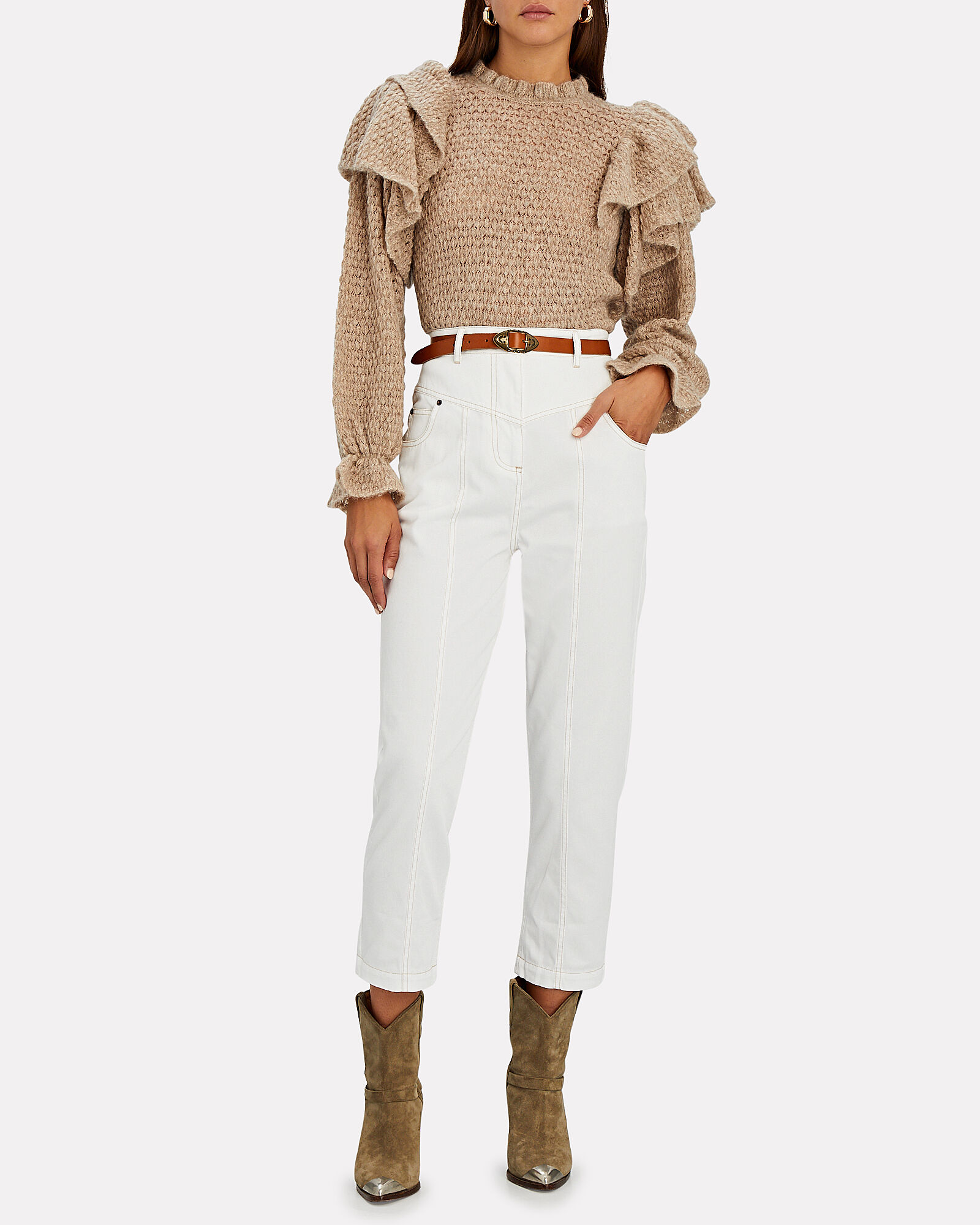 Chiara Cropped Drill Jeans, IVORY, hi-res