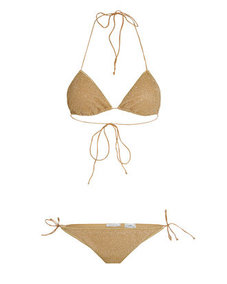 Lumière Lurex Tirangle Bikini Set, GOLD, hi-res