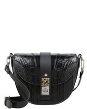 PS11 Exotic Patchwork Saddle Bag, BLACK, hi-res