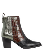 Western Colorblock Leather Ankle Boots, MULTI, hi-res