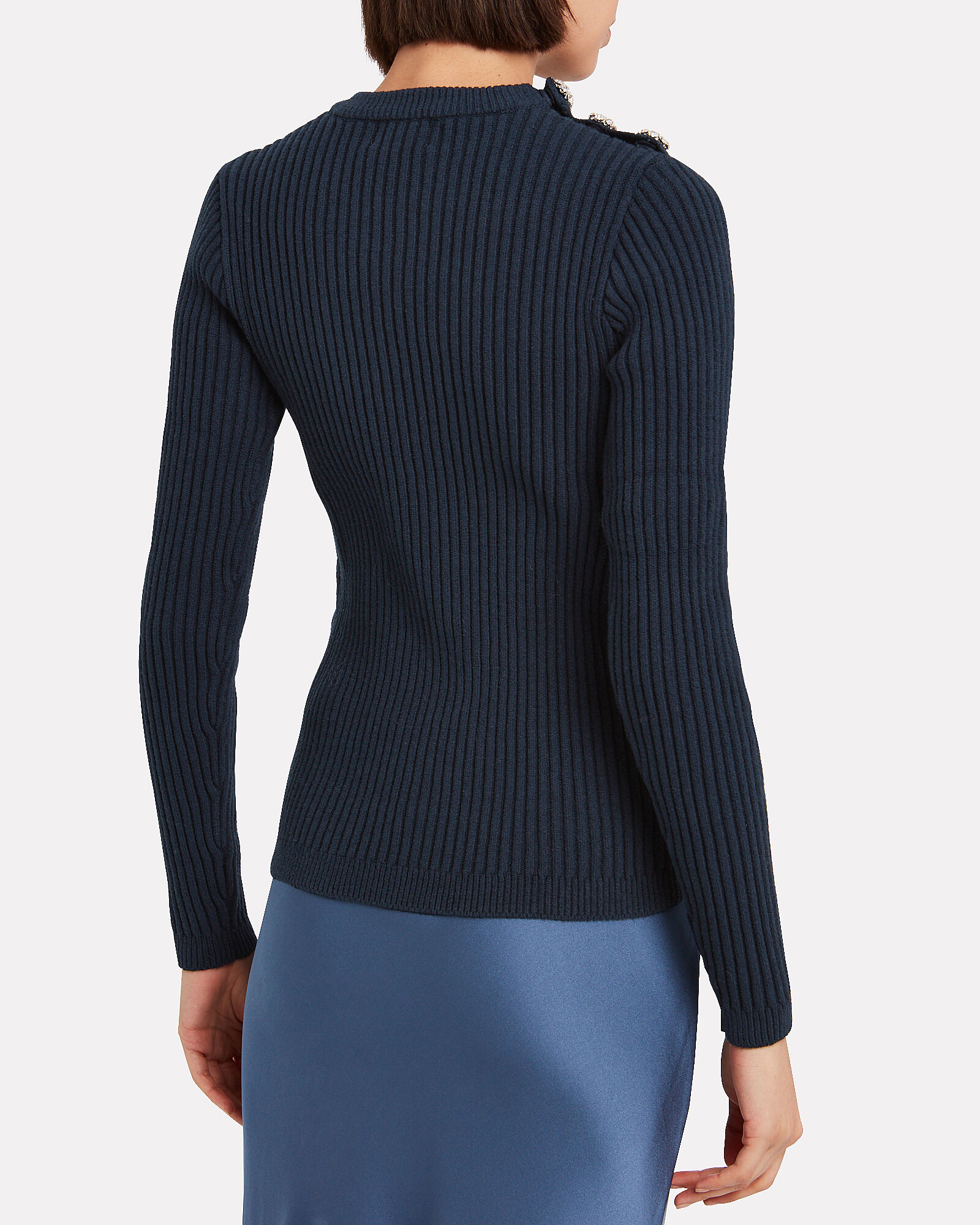 Embellished Cotton Crewneck Sweater, NAVY, hi-res
