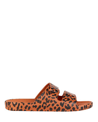 Leopard Printed Slide Sandals, BROWN/BLACK, hi-res