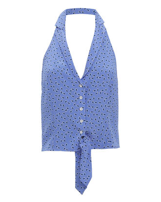 Dottie Blue Halter Blouse, MULTI, hi-res