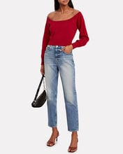 Sheer Yoke Pullover, RED, hi-res