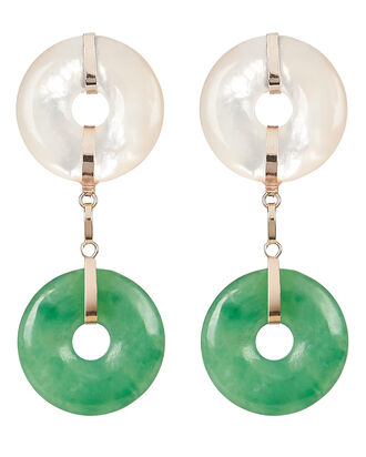 Jade and Pearl Drop Earrings, GREEN-LT, hi-res