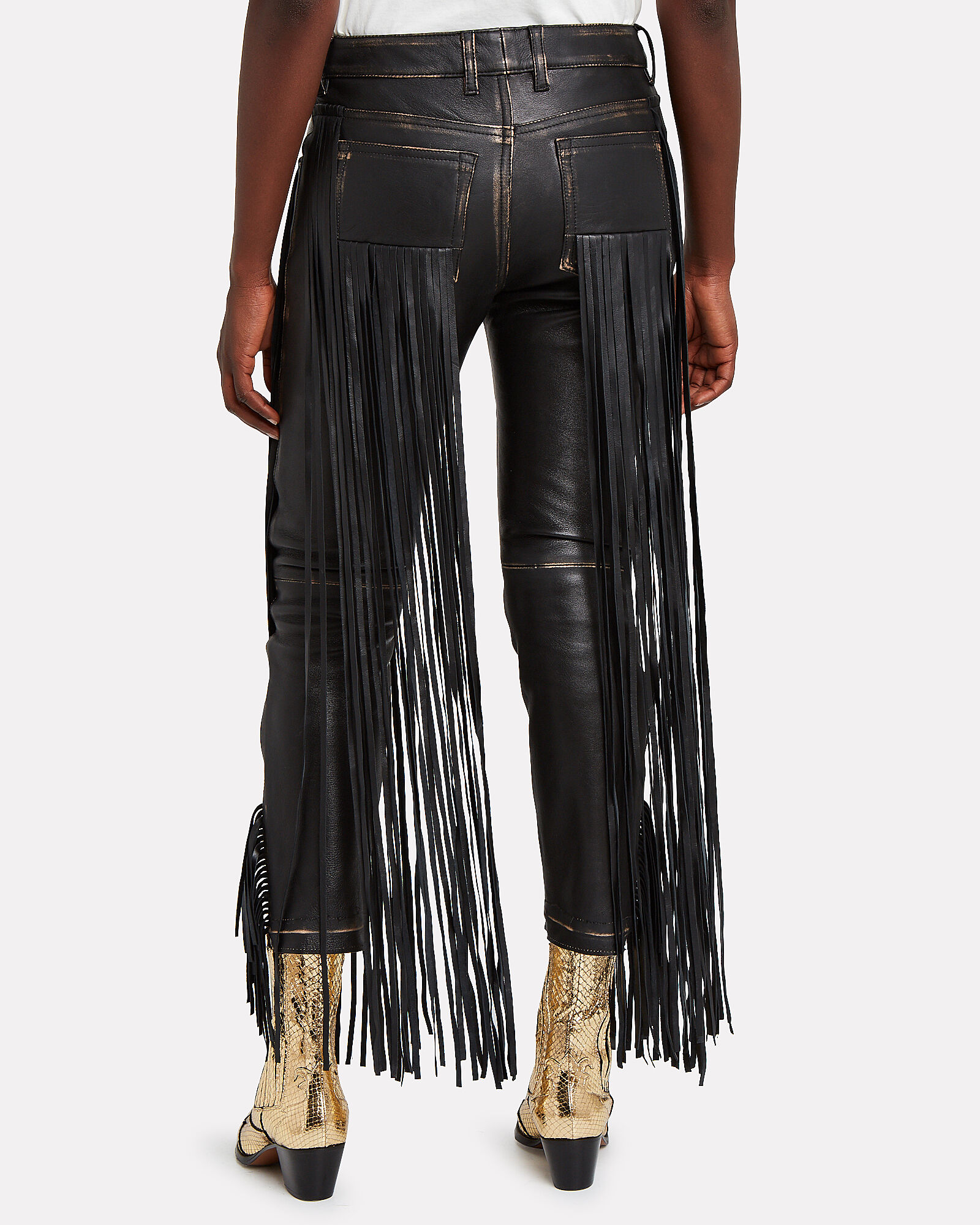 Jolly Fringe Leather Trousers, BLACK, hi-res