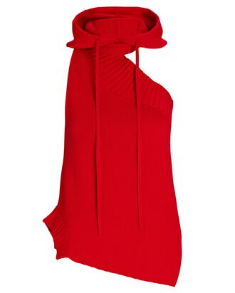 Asymmetric Sleeveless Hooded Sweater, RED, hi-res