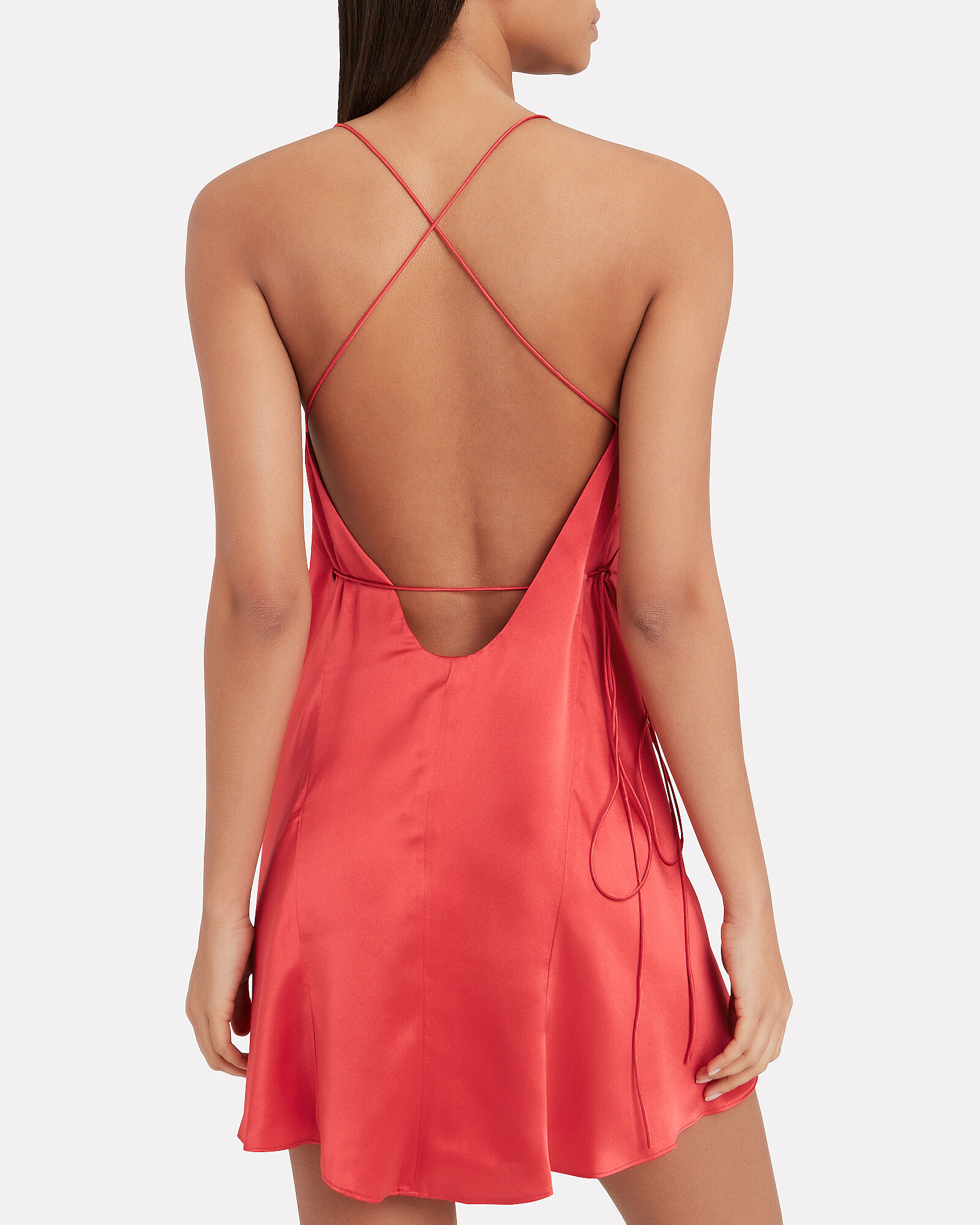 Strappy Silk Wrap Dress, RED, hi-res