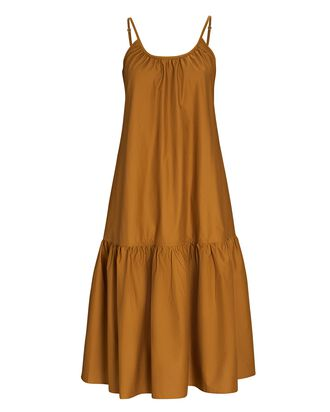 Sierra Flounce Midi Dress, BROWN, hi-res