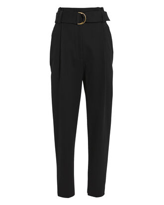 Diego Tapered Paperbag Trousers, BLACK, hi-res