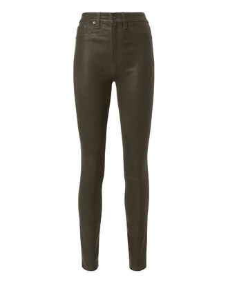 High-Rise Skinny Olive Leather Pants, OLIVE/ARMY, hi-res