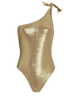 Nerea One-Shoulder One-Piece Swimsuit, GOLD, hi-res