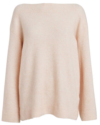 Lofty Wool-Blend Bell Sleeve Sweater, BLUSH, hi-res