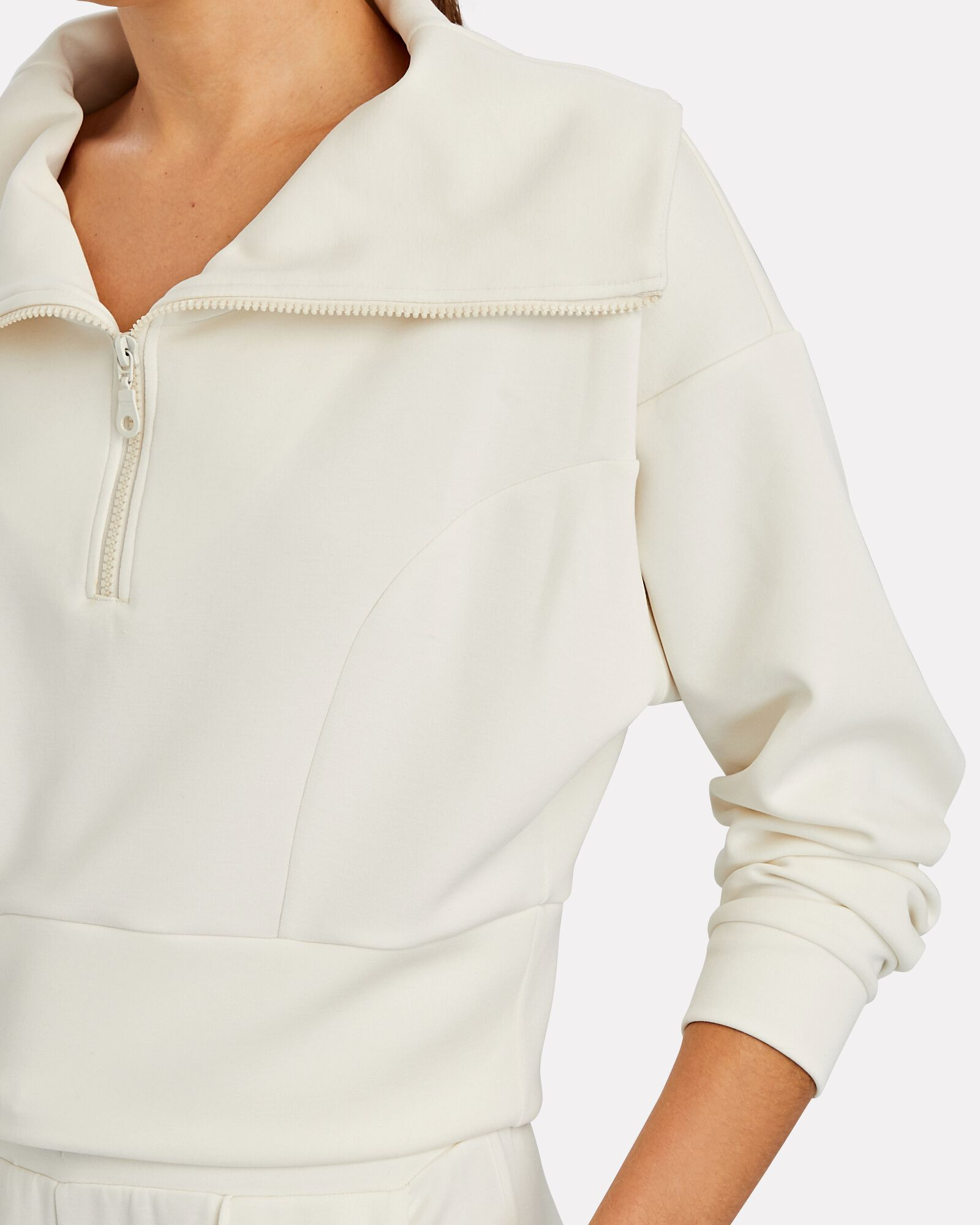 Cropped Half-Zip Sweatshirt, IVORY, hi-res