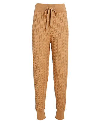 Adrianne Cable Knit Joggers, BEIGE, hi-res