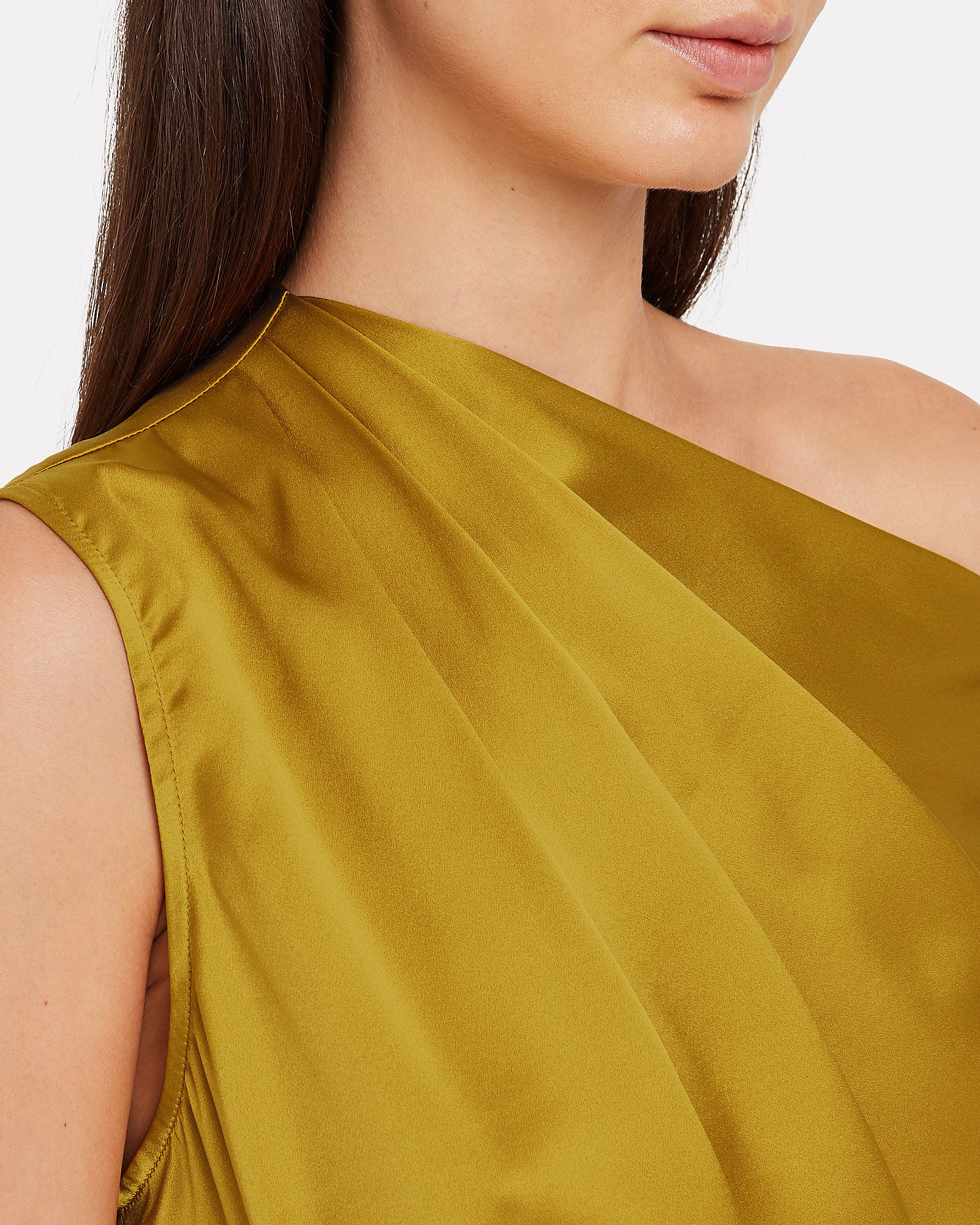 Silk Charmeuse Draped One-Shoulder Top, MUSTARD, hi-res