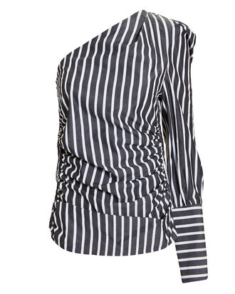A Little After Ten One Shoulder Blouse, BLK/WHT, hi-res