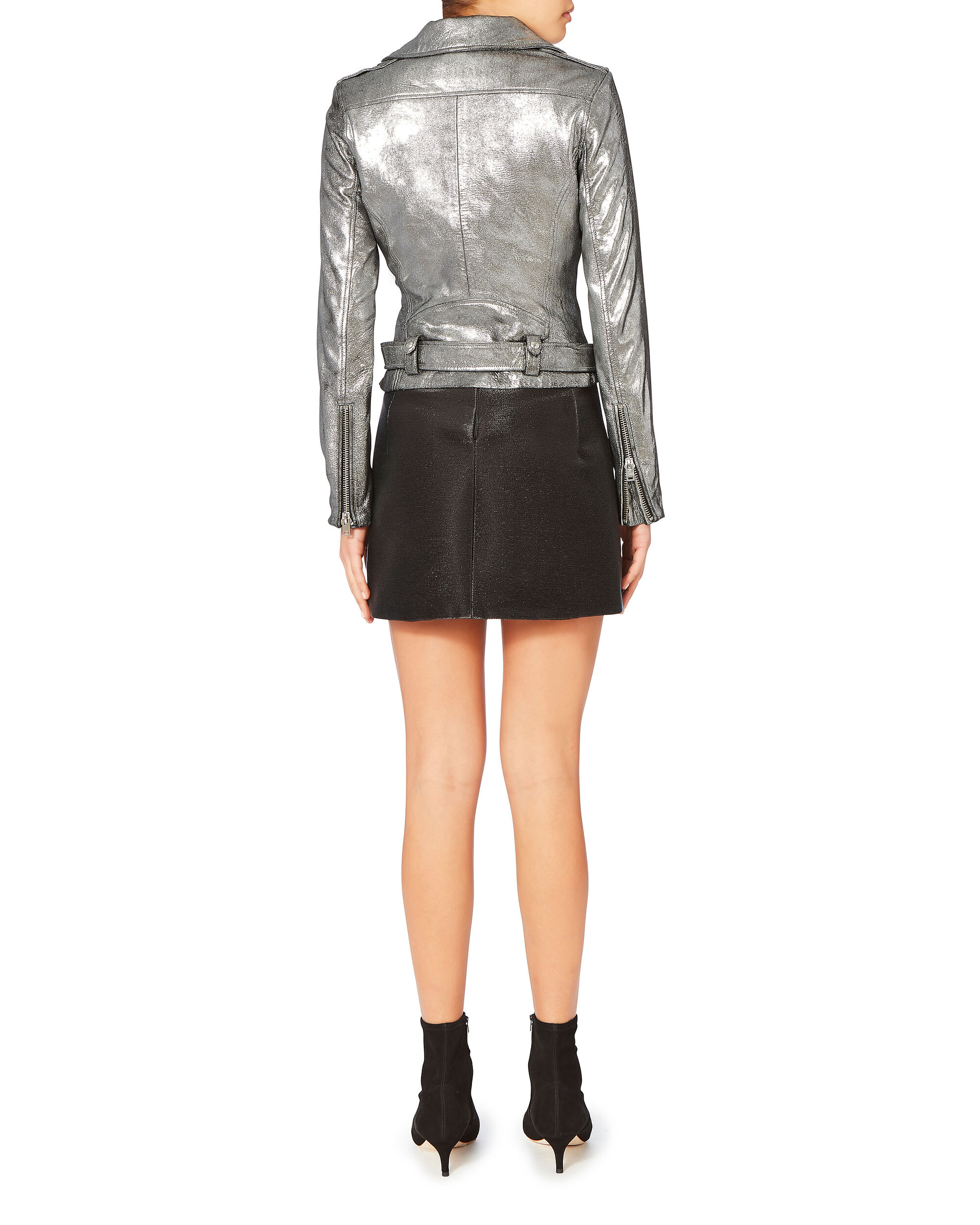 Brooklyn Silver Leather Moto Jacket, SILVER, hi-res