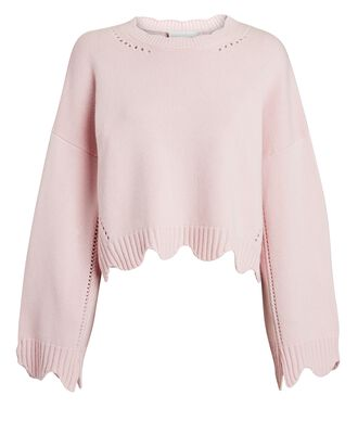 Scalloped Wool-Cashmere Sweater, LIGHT PINK, hi-res