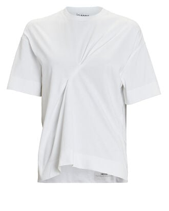 Ruched Cotton T-Shirt, WHITE, hi-res