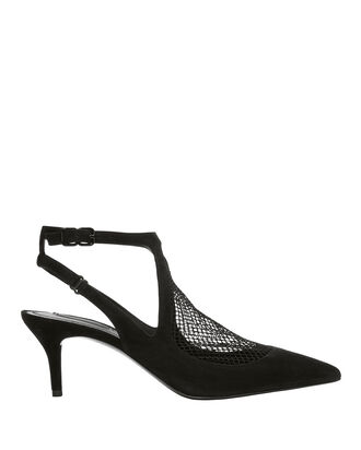 Cecile Fishnet Kitten Heel Pumps, BLACK, hi-res