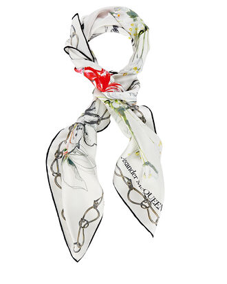 Endangered Flower Silk Square Scarf, IVORY, hi-res