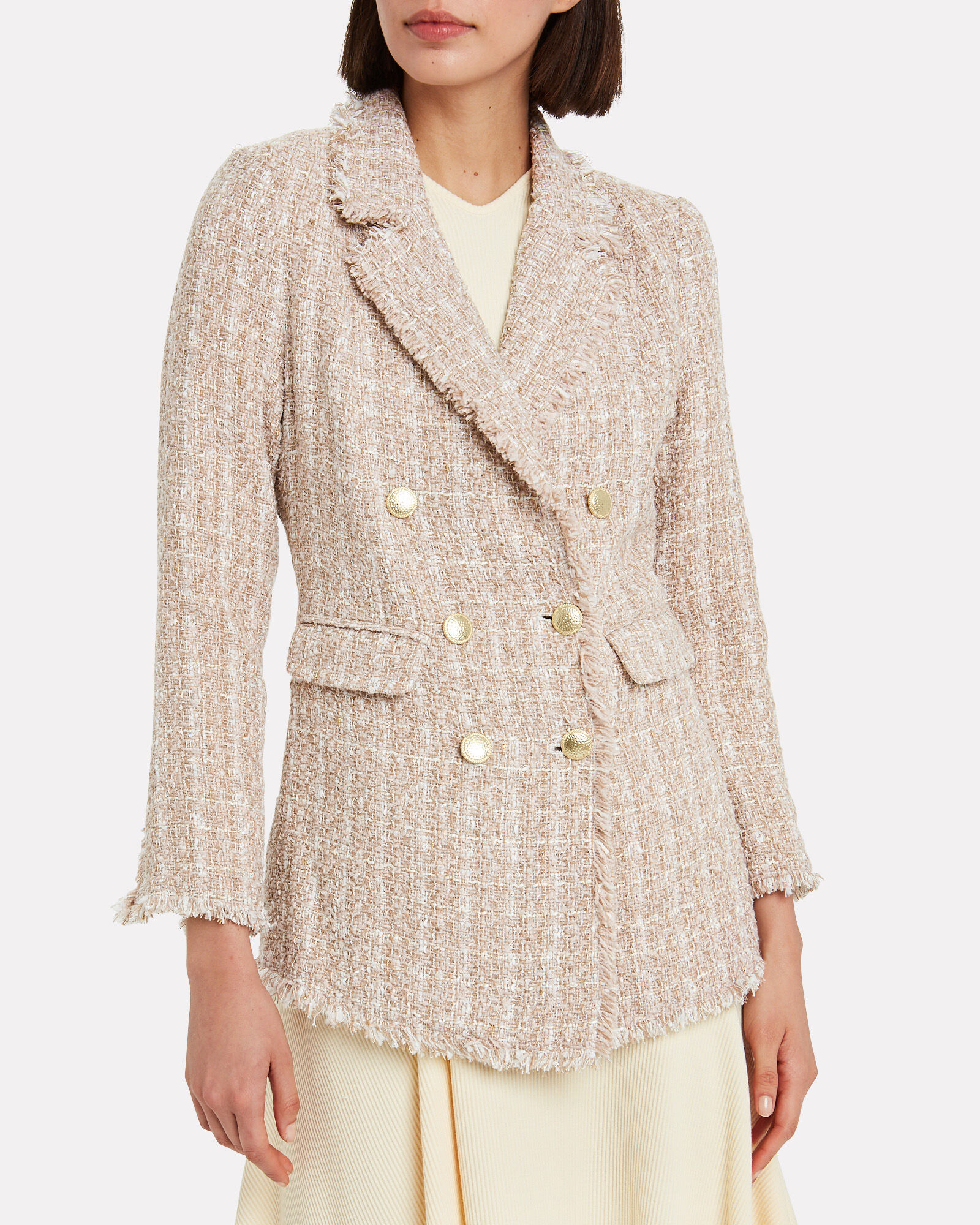 Lex Metallic Tweed Blazer, PINK, hi-res