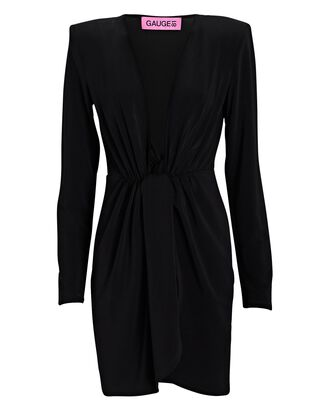 Krasnodar Draped Long Sleeve Mini Dress, BLACK, hi-res