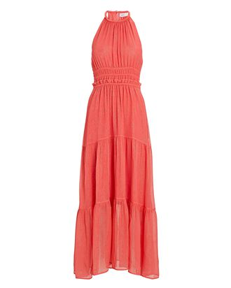 Elara Lurex Silk Maxi Dress, CORAL, hi-res