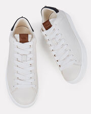 Platform Lace-Up Leather Sneakers, WHITE, hi-res