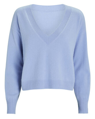 Elroy V-Neck Cashmere Sweater, BLUE-LT, hi-res