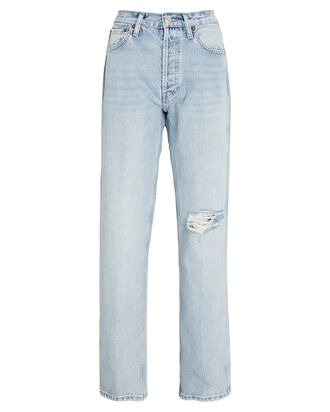 90s High-Rise Loose Straight-Leg Jeans, LIGHT WORN, hi-res