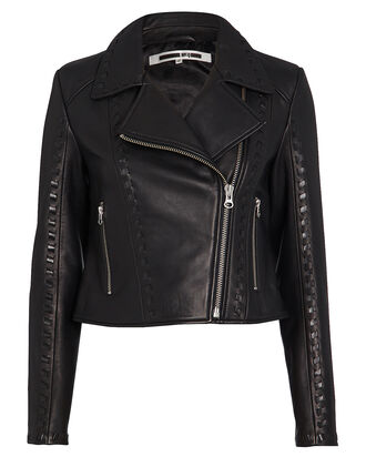 Motoya Leather Biker Jacket, BLACK, hi-res