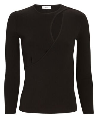Priya Cut-Out Knit Top, BLACK, hi-res