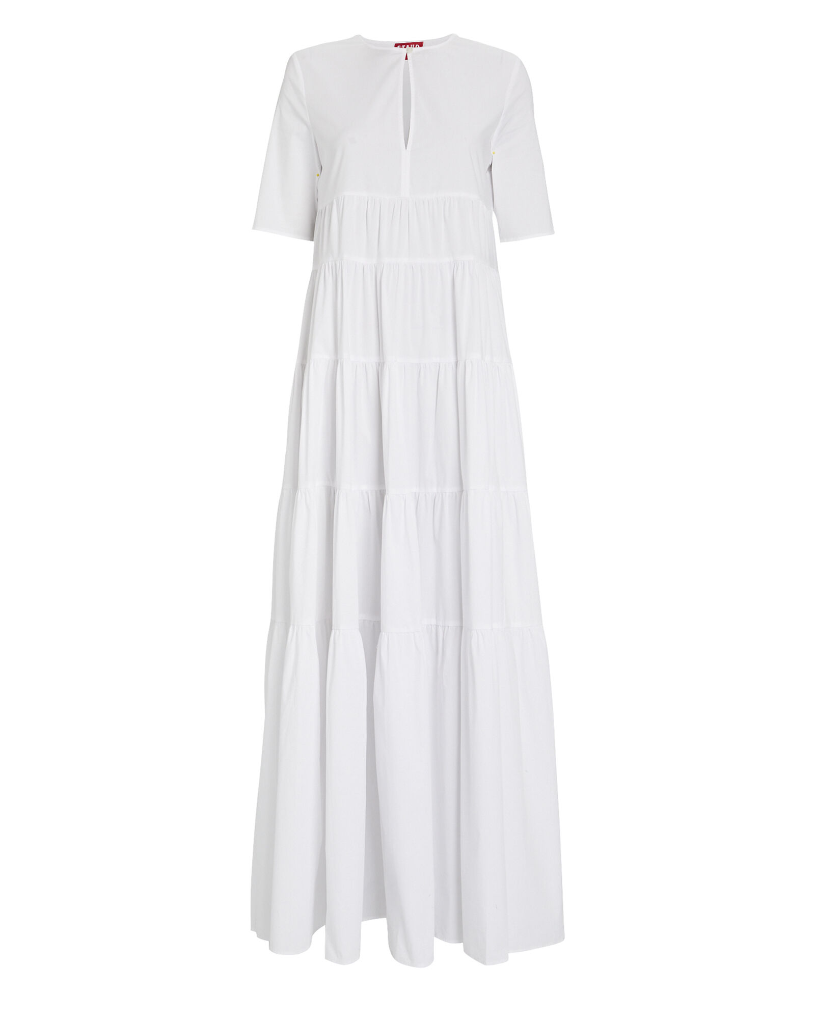Cocoon Tiered Poplin Dress, WHITE, hi-res