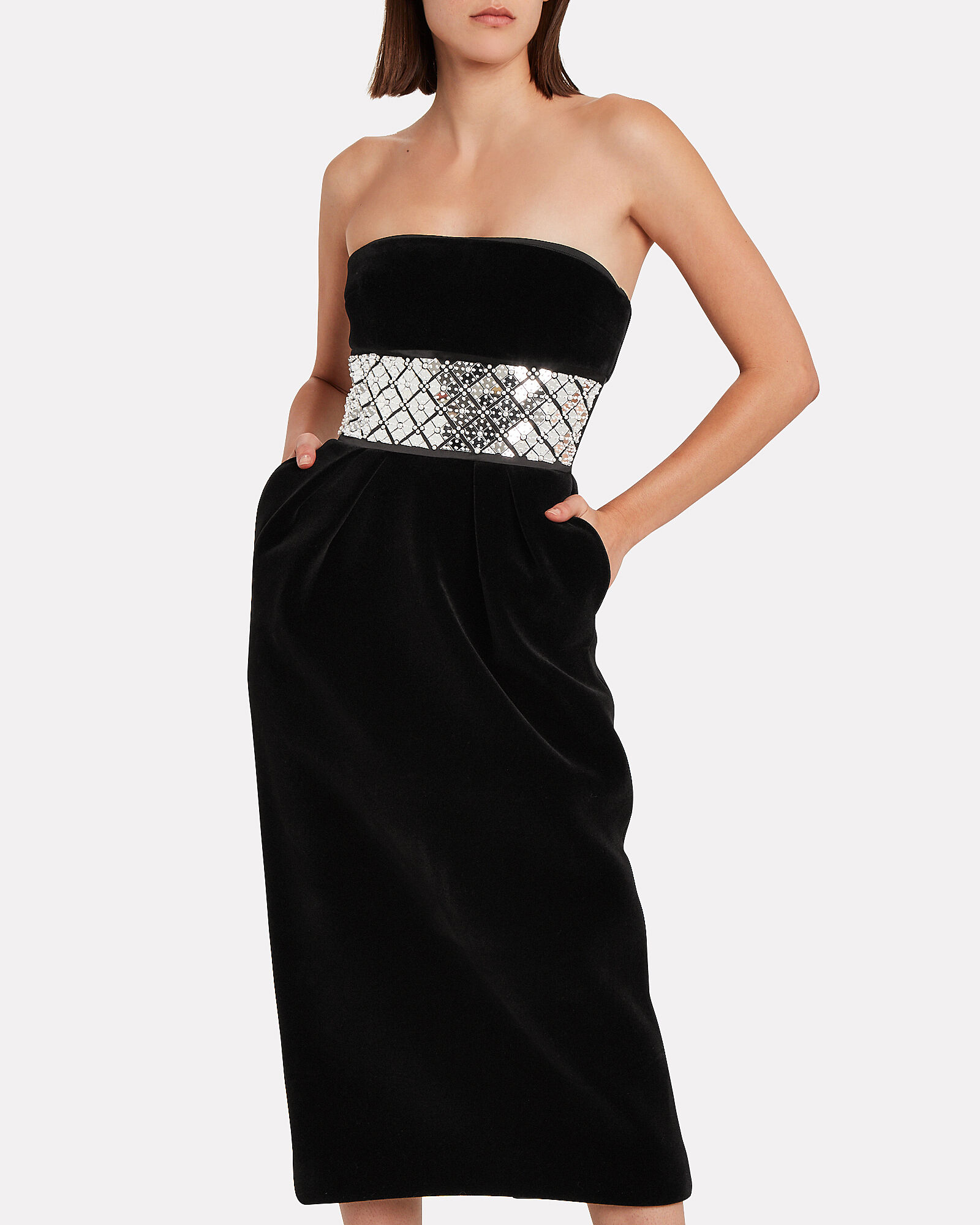 Embellished Strapless Velvet Dress, BLACK, hi-res