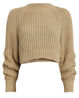 Cable Knit Cropped Sweater, TAUPE, hi-res