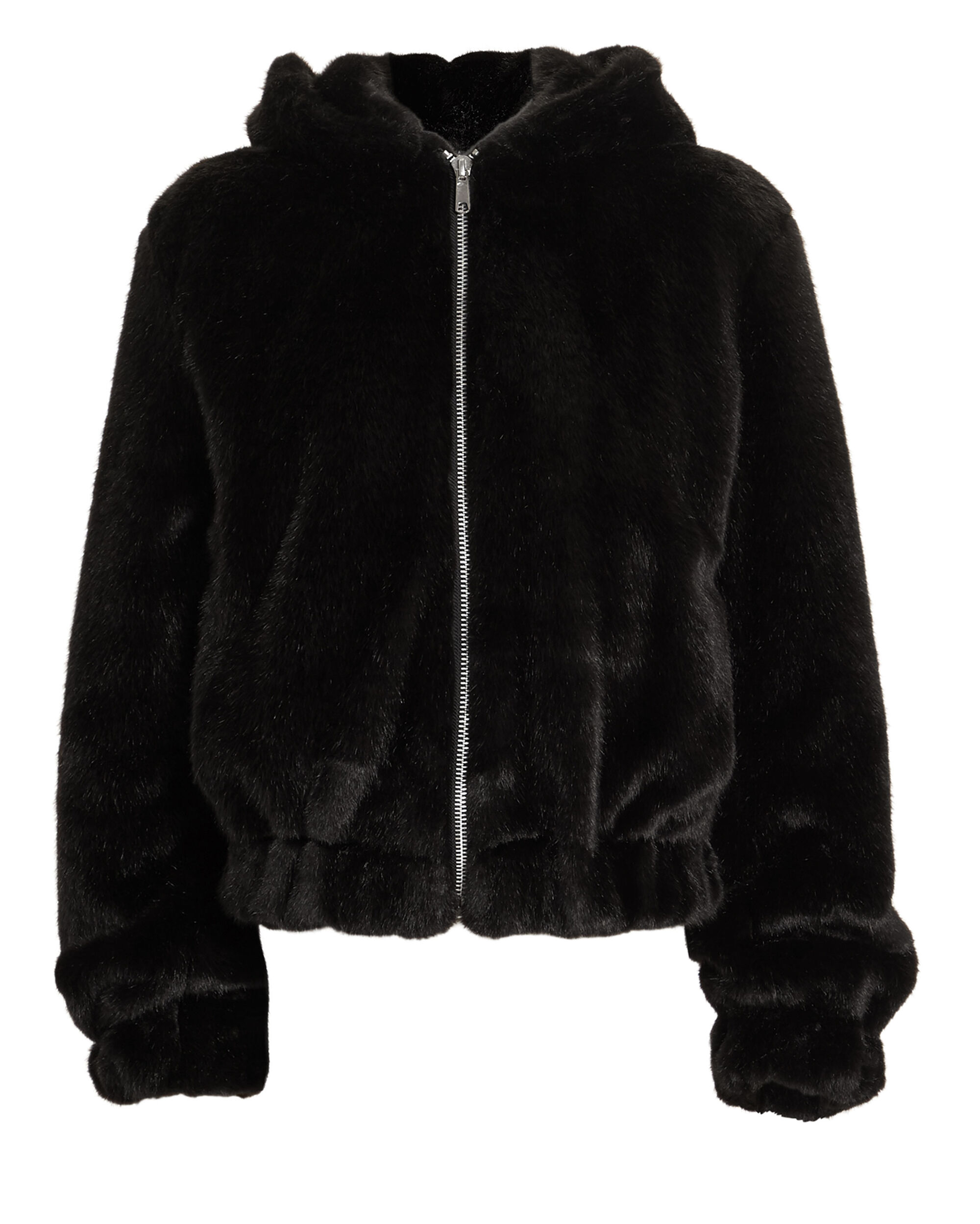 Black Faux Fur Hooded Bomber Jacket, BLACK, hi-res