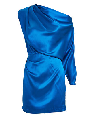 Silk Charmeuse One-Shoulder Mini Dress, COBALT BLUE, hi-res