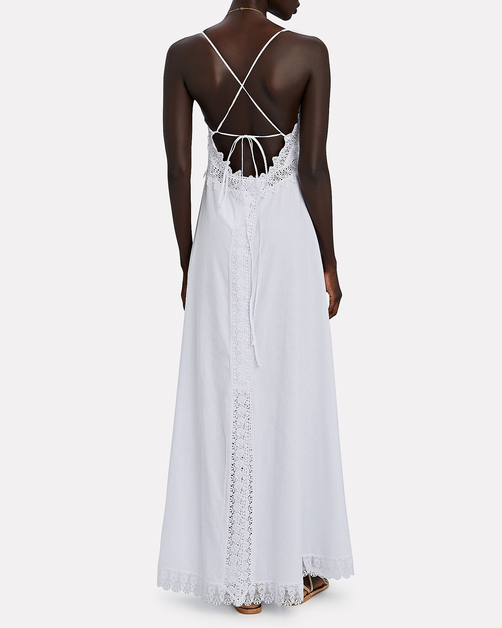 Imagen Lace-Trimmed Voile Dress, WHITE, hi-res